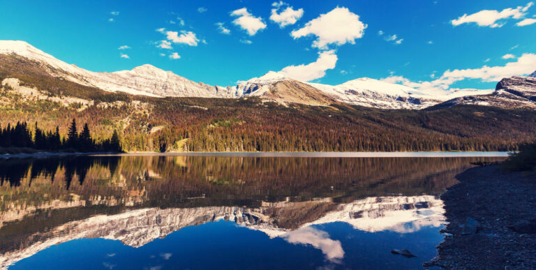 Mountain reflections in Glacier National Park, Montana