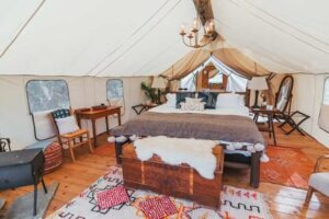 Summit safari tent for glamping at The Collective, Yellowstone