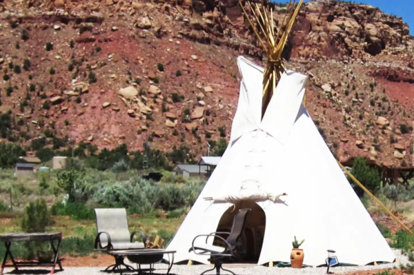 Tipi for glamping at Coral Pink Ranch