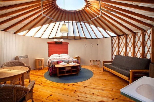 Luxury yurt interior at Treebones Resort, California