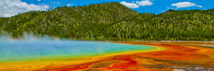 Magnificent vista of the Grand Prismatic Spring at Yellowstone National Park