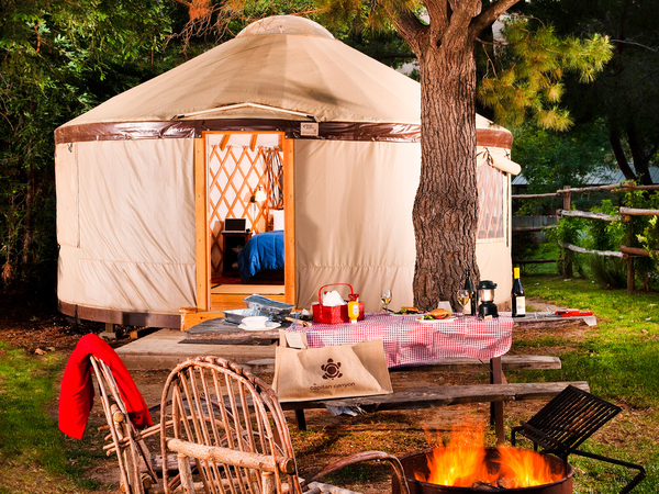 Luxurious yurt for glamping at El Capitan Canyon