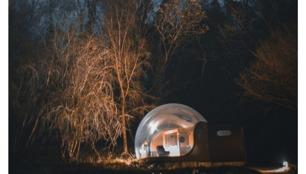 Glamping in a forest dome at Finn Lough