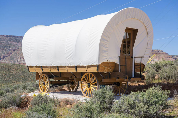 Covered wagon glamping at Zion Wildflower Resort