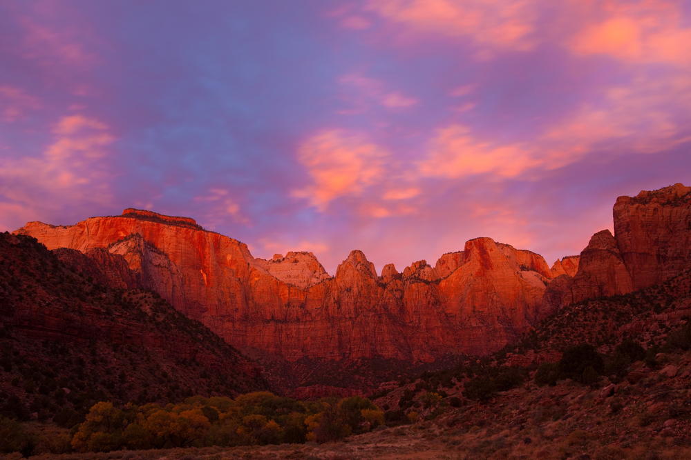 Sunset at the Towers of Virgin, Zion Canyon National Park